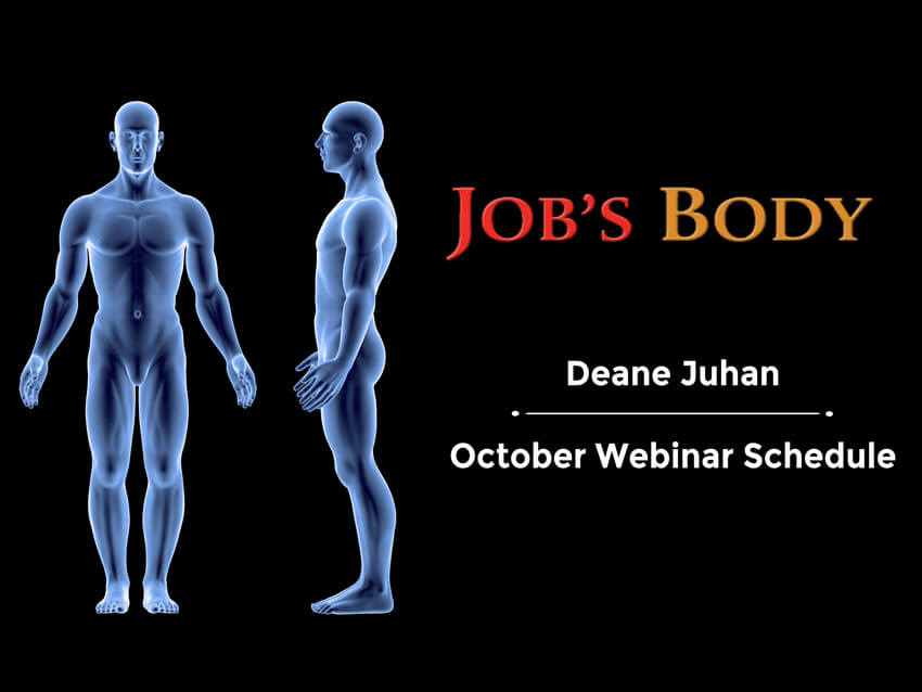 Deane Juhan - October Webinar Schedule - abstract 3d images of human body and texts.