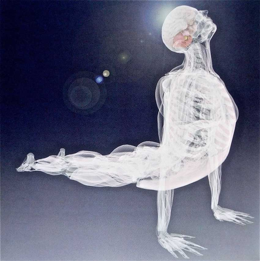 Deane Juhan will be at The Embodiement Conference - An x-ray image of a man on a yoga pose with light rays. od